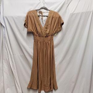 Lush Smocked Waist Embroidered Midi Dress S